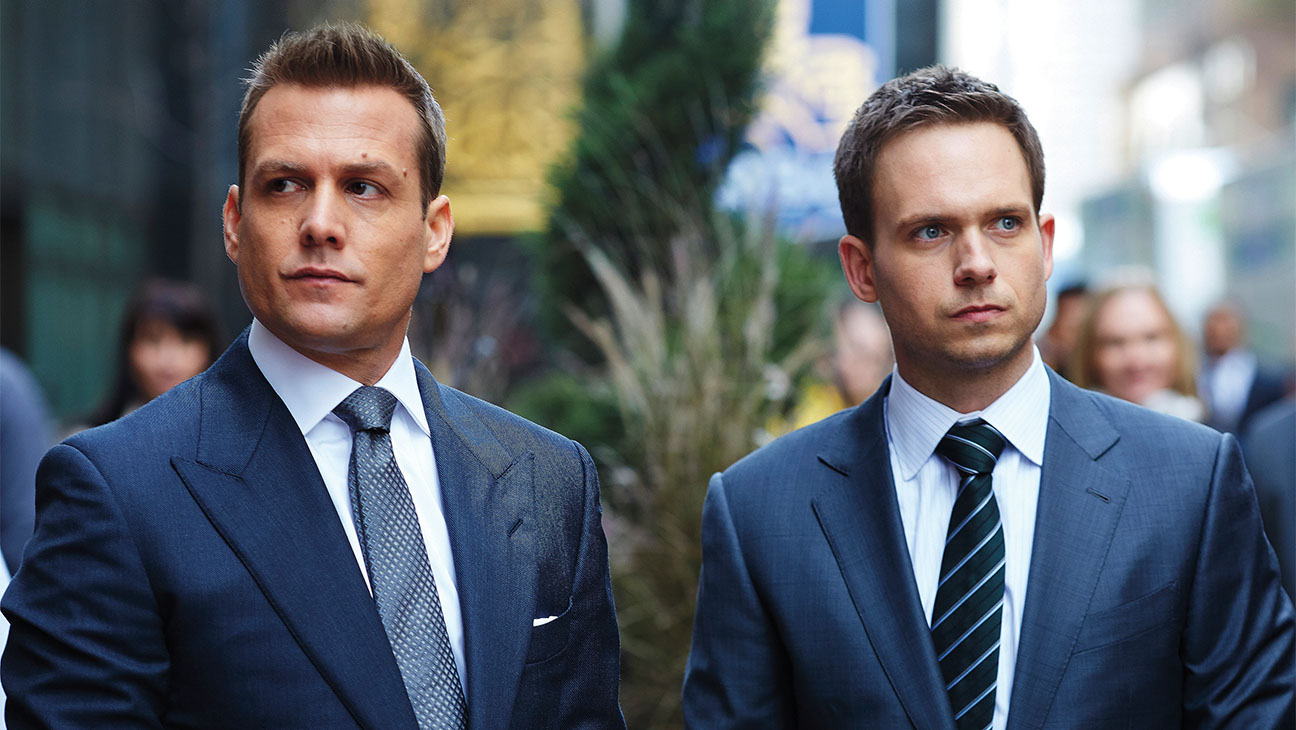 "SUITS -- ""Derailed"" Episode 414 -- Pictured: (l-r) Gabriel Macht as Harvey Specter, Patrick J. Adams as Michael Ross -- (Photo by: Shane Mahood/USA Network/NBCU Photo Bank via Getty Images)"